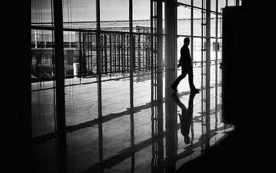 'Trapped' by Mirela Momanu, Airport, Barcelona, Spain